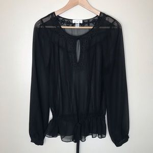 Ann Taylor LOFT black sheer long sleeve top